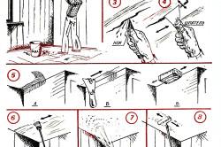 Этапы удаления старой побелки с потолка и нанесения новой