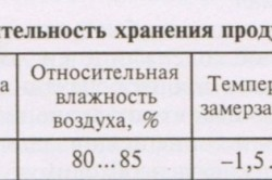 Таблица условий хранения картофеля.