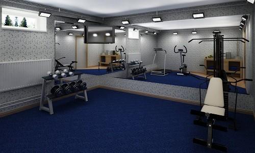 Тренажерный зал на цокольном этаже