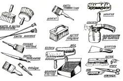 Инструменты для снятия старой побелки и наложения новой