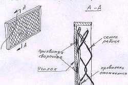 Использование сетки рабица для изготовления секций ограждения.