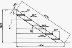Схема размеров подвальной лестницы.