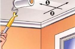 Схема побелки потолка валиком: 1- направление первого слоя покраски, 2- направление второго слоя покраски.