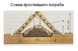 Схема простейшего погреба.